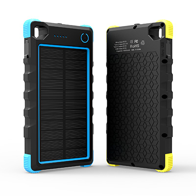 WT-187 IP67 10000mAh Portable solar power bank with Type-C